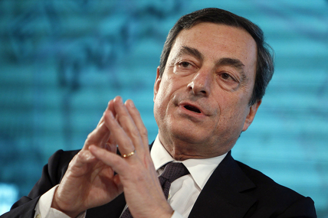 File photo of Bank of Italy Governor Mario Draghi speaking during a Future of Finance Initiative conference in Horsham, southern England